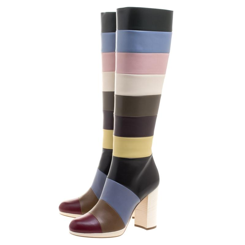 Valentino Multicolor Striped Leather Knee Boots/Booties Size EU 40 (Approx. US 10) Regular (M, B)