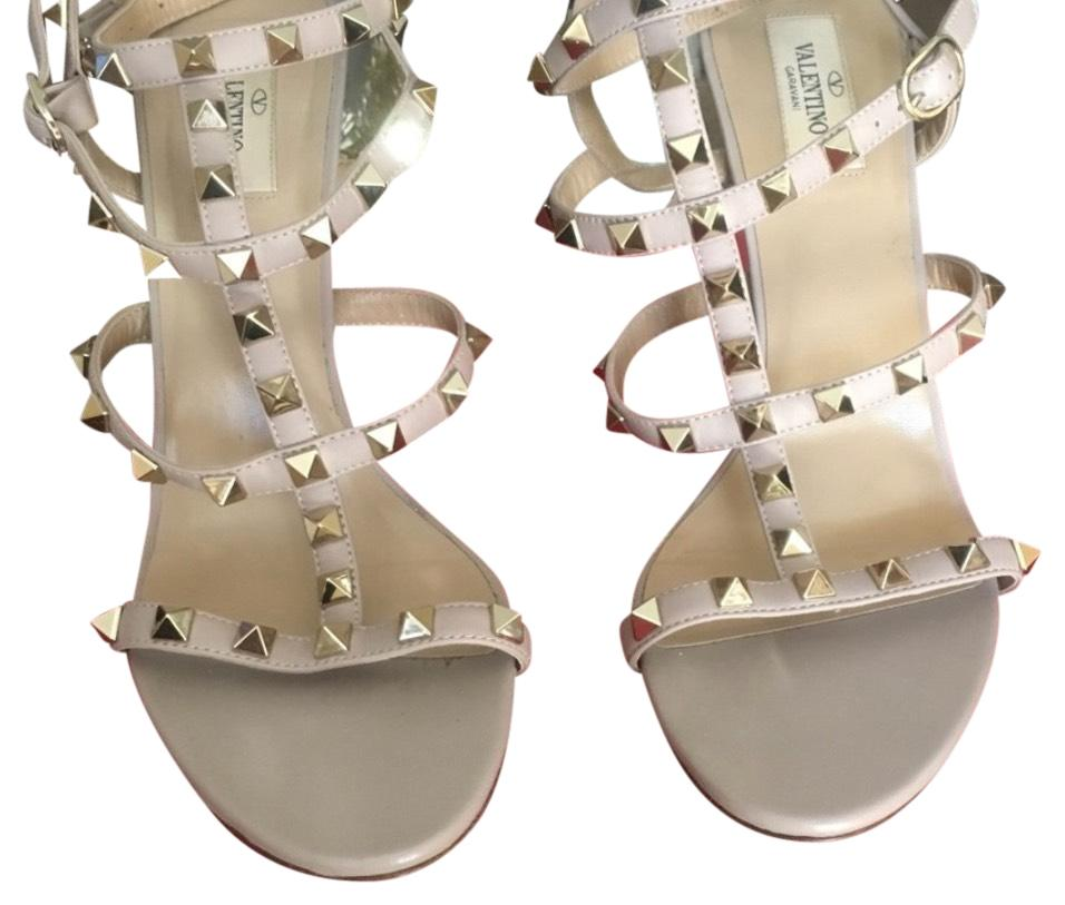 Valentino Nude Rockstud Leather Gladiator Sandals Size US 9.5 Regular (M, B)