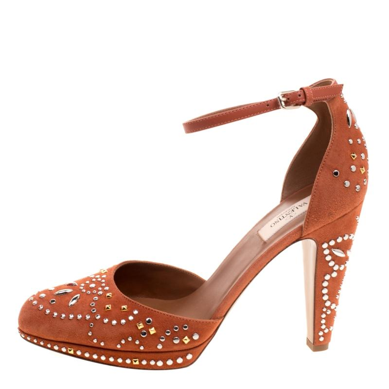 2ac545805acf Valentino Orange Leather and Embellished Suede Teodora Teodora Teodora  Ankle Strap Platform Pumps Size EU 40 (Approx. US 10) Regular (M