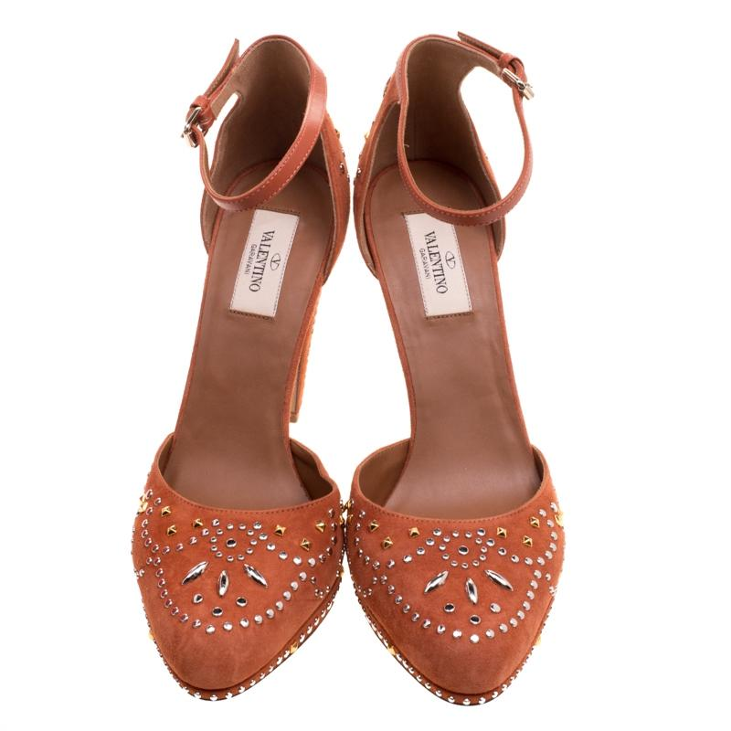 fb380c89f49a ... Valentino Orange Leather and Embellished Suede Teodora Teodora Teodora  Ankle Strap Platform Pumps Size EU 40 ...