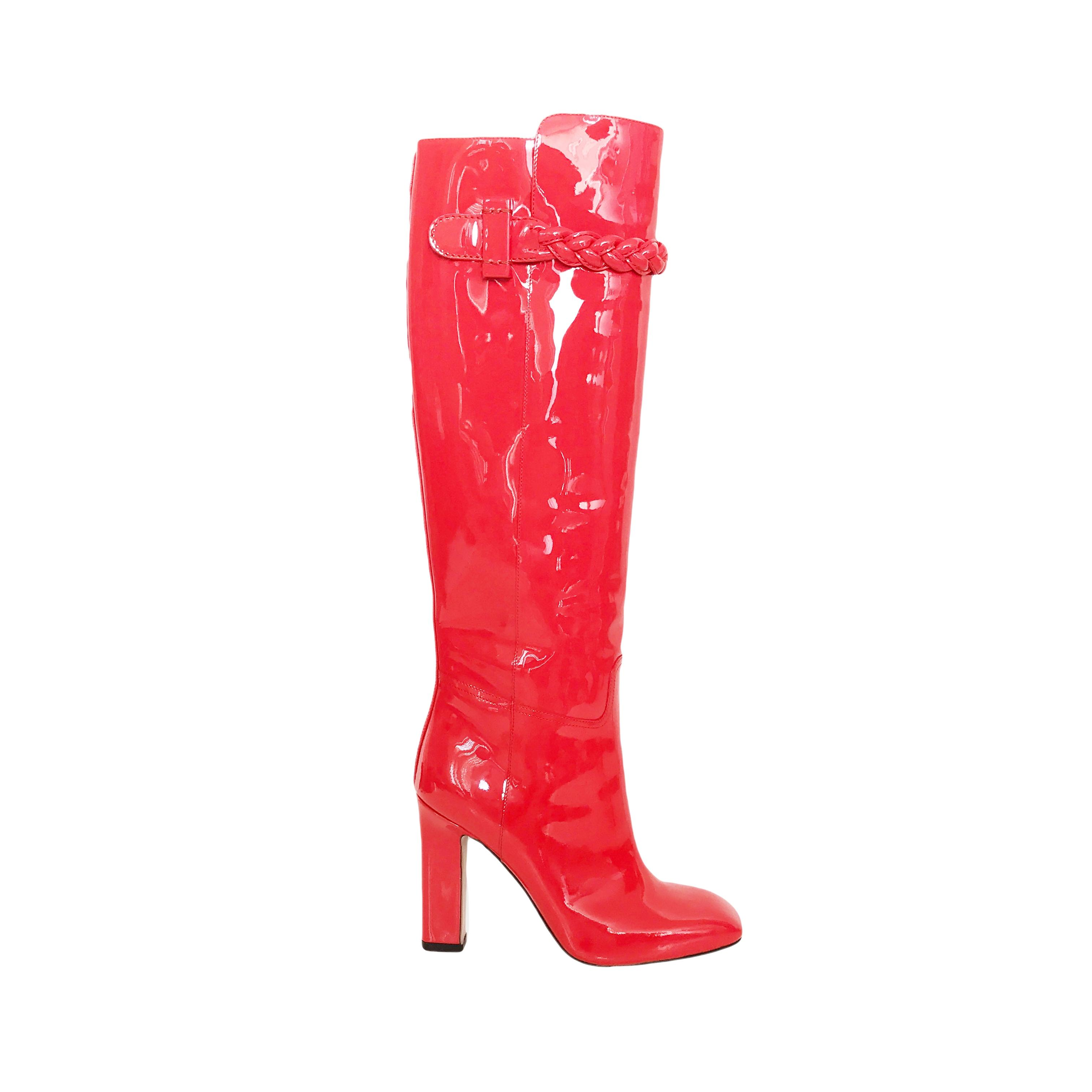 bd83ce37fe6 Valentino Orange Tbc Braided Patent Patent Patent Leather Boots Booties Size  EU 37 (Approx. US 7) Regular (M
