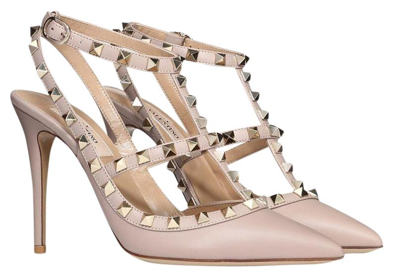 Valentino Poudre Nude Classic Rockstud Embellished Matte Leather Point-toe Cage Heels Pumps Size EU 39.5 (Approx. US 9.5) Regular (M, B)