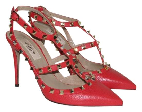 Valentino Red Grained Leather Rockstud Pumps Size US 9