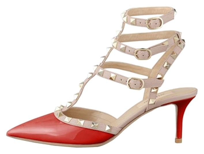 Valentino Red Rockstud Slinback Heels Kitten Us7 Eu37 Pumps Size US 7 Regular (M, B)