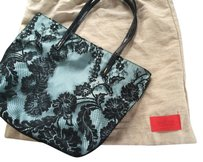 Valentino Satin Lace Python Tote in Black and Baby Blue