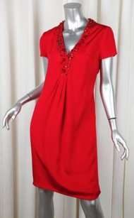 Valentino short dress Red Womens Satin Embellished Shift 4610 on Tradesy