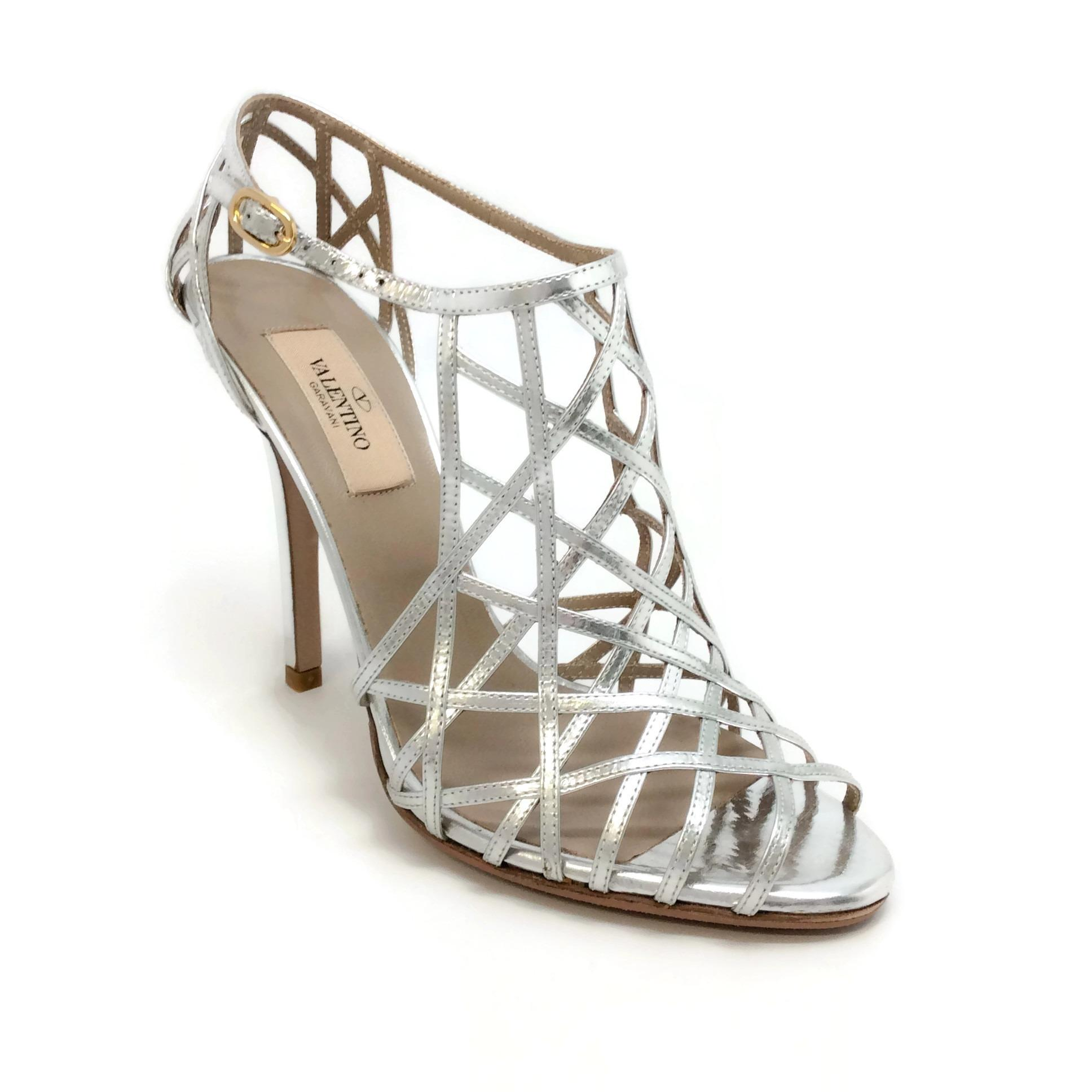 Valentino Metallic Caged Sandals