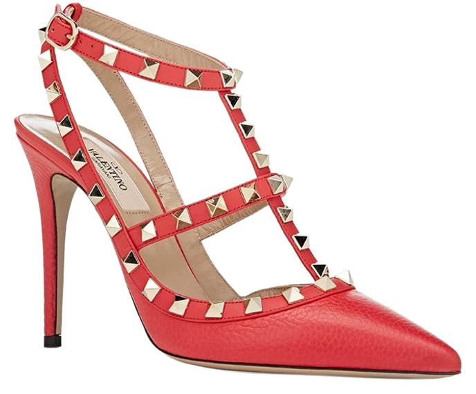 Valentino Strawberry Rockstud Slingback T-strap Studs Pumps Size US 11 Regular (M, B)