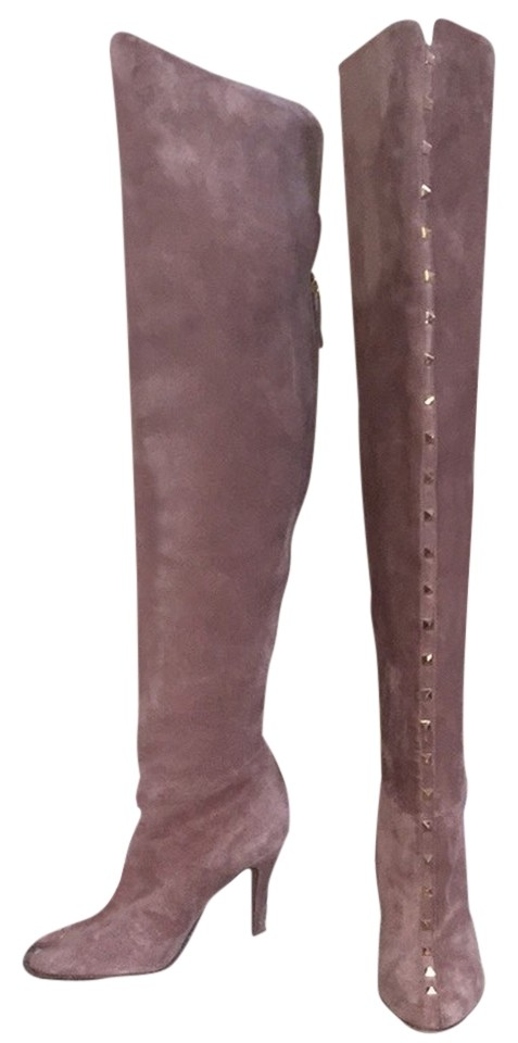 Valentino Tan Rockstud Over-the-knee Suede Boots/Booties Size US 10 Regular (M, B)