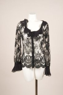 Valentino Black Lace Ruffle Top