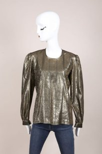 Valentino Night Gold Metallic Back Button Up Top