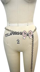 Valentino Valentino Pink Bow Rhinestone Embellished Silver Tone Chain Belt