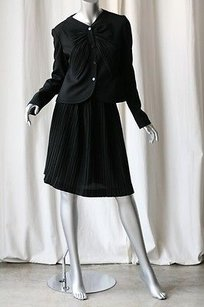 Valentino Valentino Black Bow Blouse-topjacketpleated 2-piece Skirt Suit Outfit