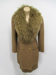 Valentino Valentino Boutique Dark Camel Wool Skirt Long Jacket W Curly Wool Trim -xs