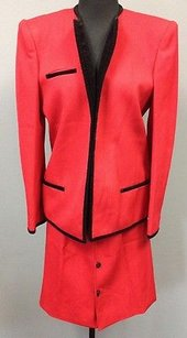 Valentino Valentino Boutique Vintage Red Wool Skirt Open Front Blazer Suit Sma 2943