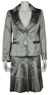 Valentino Valentino Womens Gray Metallic Skirt Suit 68 Med Silk Career