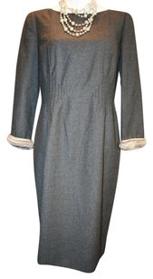 Valentino Vintage Wool Longsleeve Fur Cashmere Dress