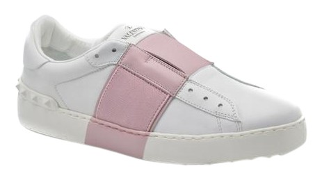 eb19be54efd69 Valentino Valentino Valentino White Women's Open Leather Sneakers with  Patent Pink Band Sneakers Size US 7.5