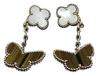 Van Cleef & Arpels Van Cleef Arpels 18kt Lucky Alhambra Butterfly Mop Tiger Eye Earrings Yg
