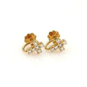 Van Cleef & Arpels Van Cleef Arpels Vca Daimonds 18k Yellow Gold Cross Earrings Screw Back