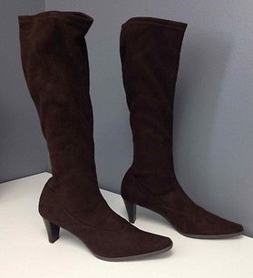 Vaneli Suede Stretchy Brown Boots