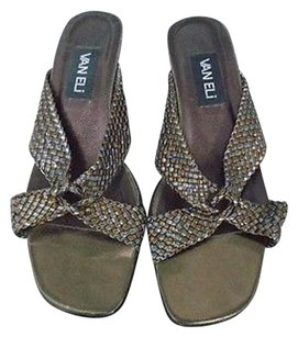 Vaneli Open Toe Block Heel Woven Strap B2395 Copper Silver Brown Sandals
