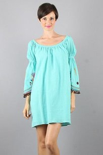 Vava by Joy Han short dress Aqua blue with embroidered multi color detail on Tradesy