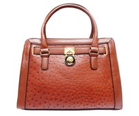 Vecceli Italy Faux Leather Satchel Handbag Ostrich Leather Tote in Dark Brown
