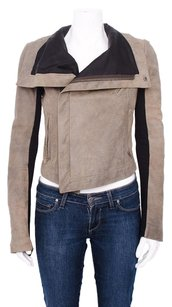 VEDA Max Classic Distressed Leather Contrast Ribbed Sleeve Moto Brown Jacket