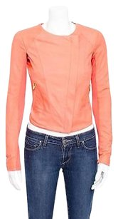 VEDA Leather Asymmetrical Zip Ribbed Sleeve Biker Moto Racer Orange Jacket