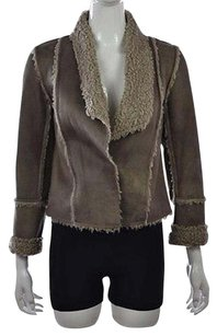 Velvet by Graham & Spencer Womens Petite Taupe Basic P Faux Suede Leather Coat Brown Jacket