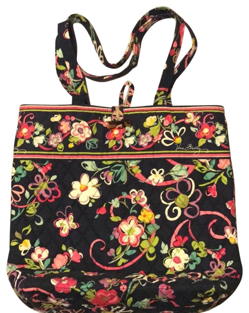 Vera Bradley Navy Blue With Multi Color Floral Patterb Tote Bag On Tradesy
