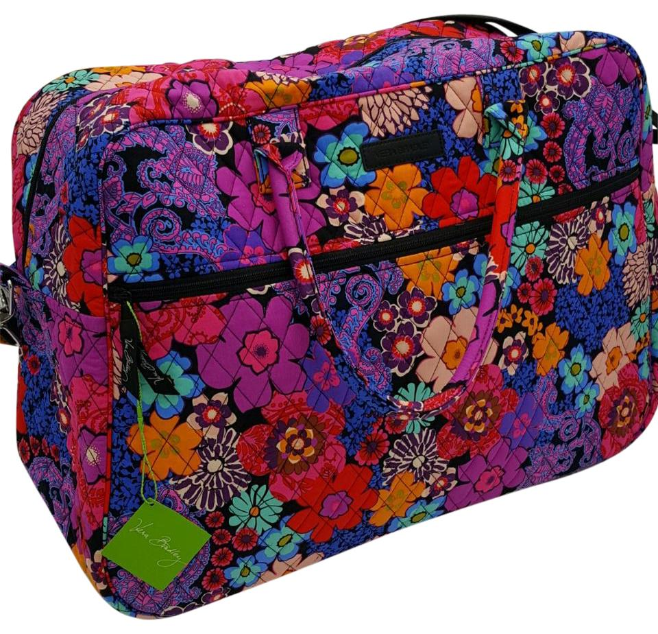 Vera Bradley Grand Floral Fiesta Cotton Weekend/Travel Bag - Tradesy