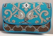 Vera Bradley Vera Bradley Cotton Totally Turquoise Retired Pattern Snap Closure Wallet 5x3.5