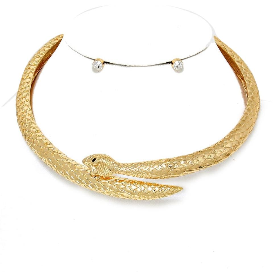 vera gold plated serpent snake collar choker necklace and
