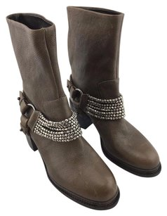 Vera Wang Natasha Leather Beaded Strap Ankle B Brown Boots
