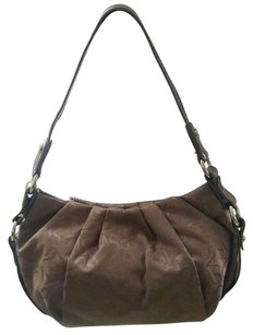 Vera Wang Patent Leather Embossed Canvas Shoulder Bag