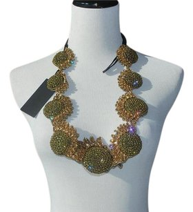 Vera Wang Vera Wang sunflower crystal quirky statement necklace $875 new