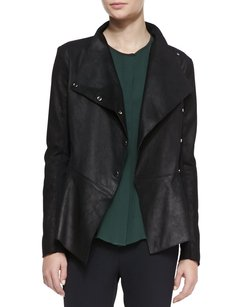 Veronica Beard Leather Ponte Drape Black Jacket