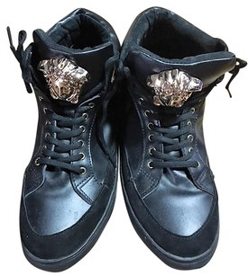 Versace black leather and suead Athletic