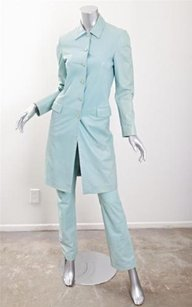 Versace Gianni Versace Womens Blue Leather Button-down Jacket Pant Suit Outfit Set 384