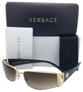 Versace New VERSACE Sunglasses VE 2021 1002/13 60-15 Gold & Black Frame w/ Brown Gradient lenses
