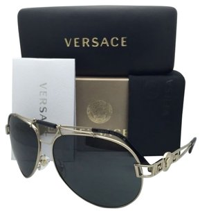 Versace New VERSACE Sunglasses VE 2160 1252/87 63-14 Gold & Black Aviator Frames w/ Gray Lenses
