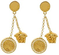 Versace VERSACE MEDUSA EARRING With Crystals, Pierced, 3.5 x 0.25 x 0.75