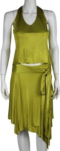 Versace Versace Women Yellow Green Skirt Suit Casual Sleeveless Metallic
