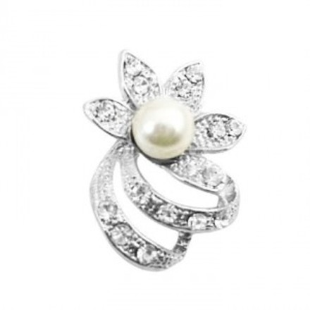Silver Ivory Very Artiscally Flower Cz Round Bouquet Pearls Dainty Cheap Brooch/Pin