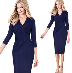 VfEmage Women Elegant Sexy V Neck Dress