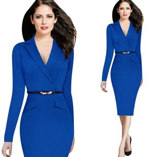 VfEmage Womens Autumn Winter Fashion Long Sleeve Lapel Faux Wrapped V Neck Button Wear to Work Business Office Sheath Dress