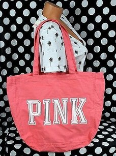 Victoria's Secret Victorias Pink Wpocket Tote in Orange