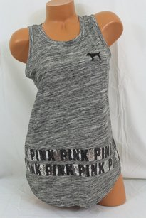 Victoria's Secret Pink Smuscle Tankmarled Black Silver Sequin Bling T Shirt Gray